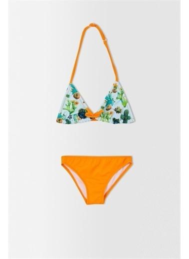 DeFacto Kız Çocuk Karpuz Desenli Esnek Bikini Takımı Turkuaz
